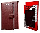 Designer Hub™ Honor Holly 3 Flip Flap Cover Case with Stand/Wallet/Card Holder (Brown)