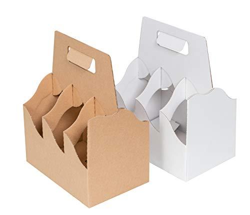 karton-billiger Flaschenträger Bierträger Six-Pack Sixpack Träger f. 6 Bierflaschen - 25 Stück - 2-Farben (braun)