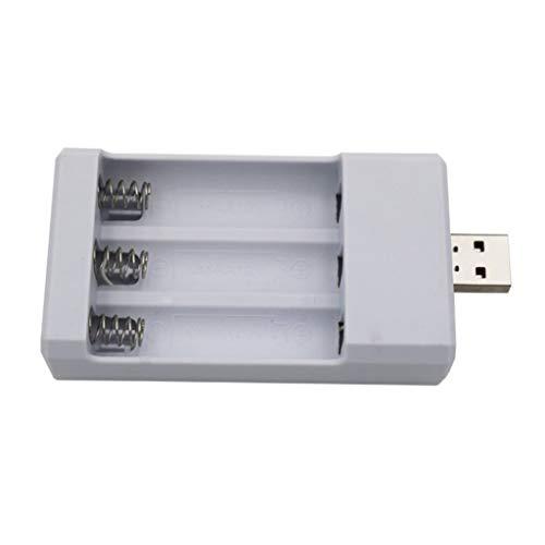 KLOVA Cargador de Enchufe USB Cargador Compacto de 3 Ranuras 5V / 2A para batería Recargable Ni-CD AA /AAA1.2V Batería portátil (sin batería)