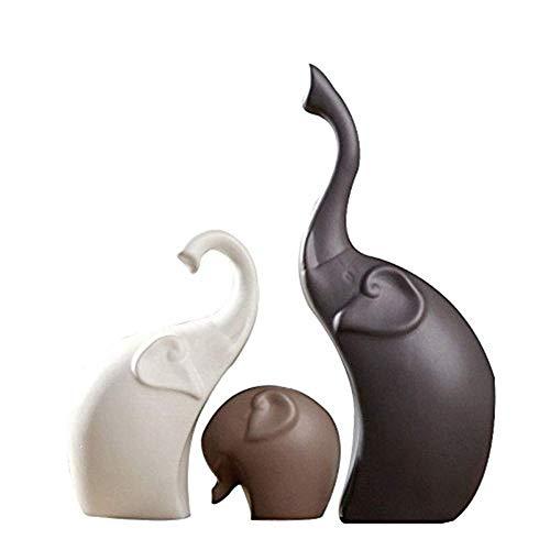 QMJHL Statue di Elefanti in Ceramica, Ornamenti di Animali, Artigianato, Regalo casa, Decorazione Domestica, Decorazione di Nozze, Artigianato, 3 / Set.