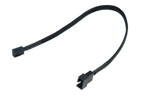Phobya Adapter 4Pin PWM (Buchse) auf 3Pin (Stecker) 30cm - Schwarz Kabel Lüfterkabel und Adapter