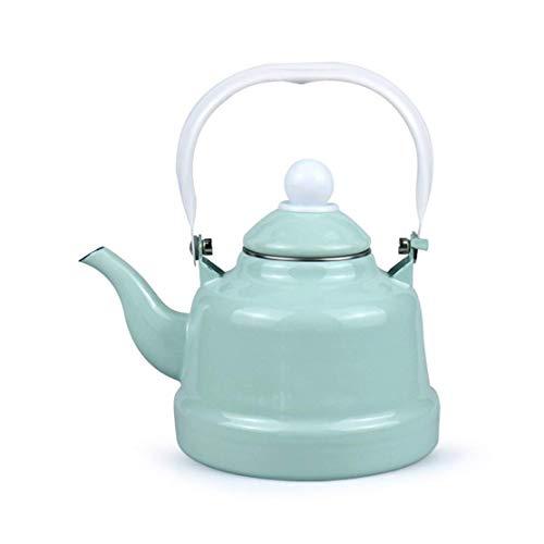 Hervidor de jarra de esmalte de hervidor, botella de café de 1,5 l / 2L / 2.5L de leche, olla de agua hirviendo para la cocina de la cocina de inducción o gas superior de la estufa, el tanque de almac