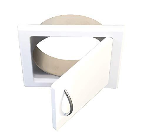 Wäscheschacht Türe in MDF-weiß - Anschluß eckig od. rund für Wäscheabwurf od. Wäscherutsche (Anschluß rund, Durchmesser für 250mm Rohr)