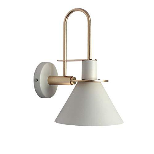 Smeedijzer Muurlampen, Kegelvormige Wand Lamp Nordic Macaron Slaapkamer Nachtlampjes Wandlamp Art Deco E27 Muur Licht Verlichting,White
