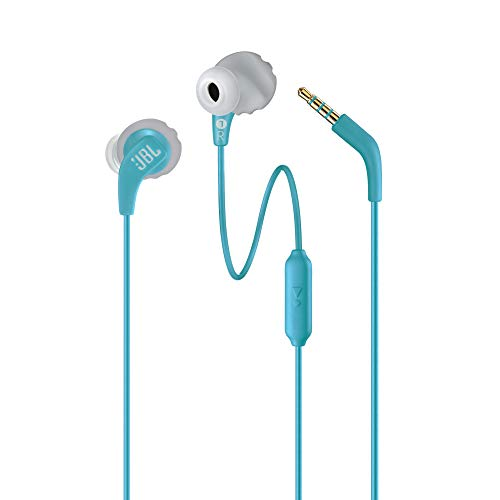JBL Endurance Run by Harman, Sports Wired Earphones with Mic, Sweatproof, Flexsoft eartips, Magnetic Earbuds, Fliphook & TwistLock Technology with Voice Assistant Support for Mobiles (Teal)