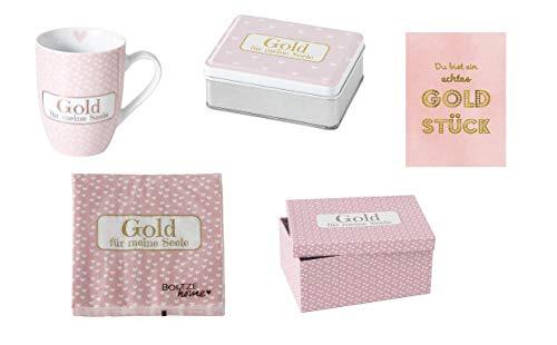Unbekannt Geschenkset Gold für Meine Seele m. Tasse, Servietten, Box, Kartonage u. Karte