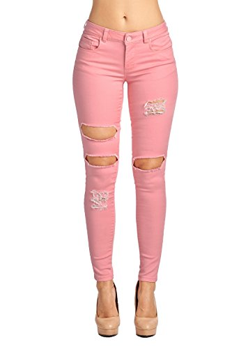 Blue Age Multistyle Denim and Cotton Skinny Jeans/Pants (3, JP1020_Pink)