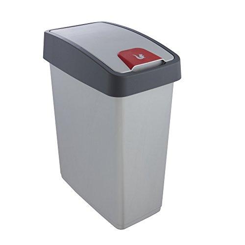 Keeeper Cubo de la Basura Premium con Tapa Abatible, Tacto suave, 25 l, Magne, Plateado