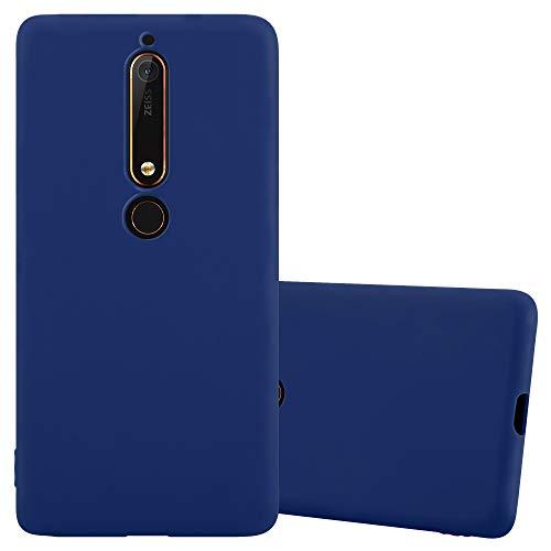 Cadorabo Custodia per Nokia 6 2018 / Nokia 6.1 in Candy Blu Scuro - Morbida Cover Protettiva Sottile di Silicone TPU con Bordo Protezione - Ultra Slim Case Antiurto Gel Back Bumper Guscio