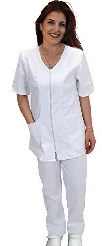 Petersabitidalavoro Uniforme completo enfermeras blanca sanitaria OSS de trabajo con cremallera para hospital esttico blanco L