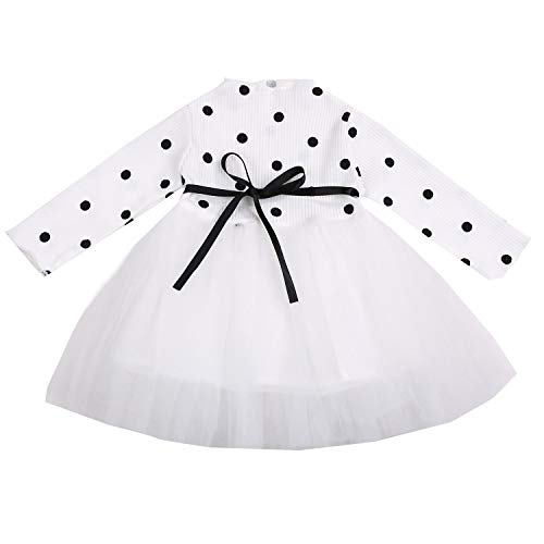 Toddler Baby Girls Clothes Long Sleeve Polka Dot Multilayer Tulle Tutu Dress Party Birthday Dress Fall Outfits (White Dot Tutu Dress, 3-4T)