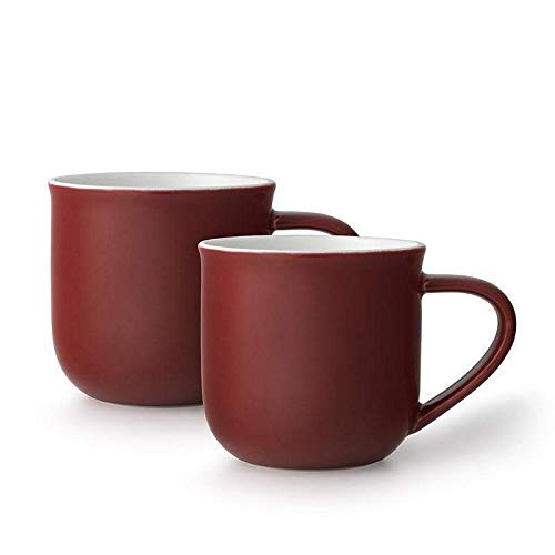 VIVA scandinavia Tee-Tassen-Set oder Kaffee-Tassen-Set 2-teilig aus Porzellan, mit Henkel, 0.35 Liter - dunkel Rot