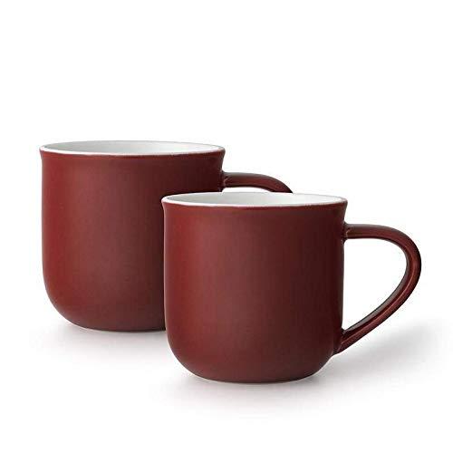 Tee-Tassen-Set oder Kaffee-Tassen-Set 2-teilig aus Porzellan, mit Henkel, 0.35 Liter - dunkel Rot
