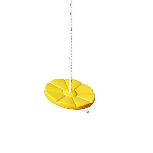 Gorilla Playsets 04-0018-Y Disc Swing with Rope, 360° Spin, Yellow