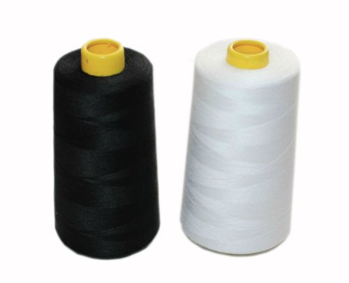 Best Prices! Pigeon Fleet Black and White Spools Polyester Sewing Thread, 5000 Yards Each