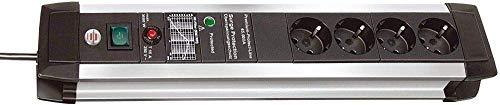 Brennenstuhl Premium-Protect-Line regleta enchufes con 4 tomas de corriente y protección sobretensiones (cable de 3m, interruptor, protección antirayos hasta 60.000 A, Made in Germany) plateado/negro