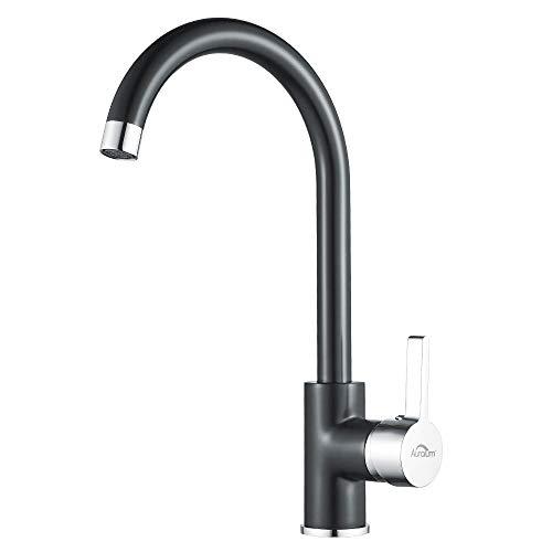 Auralum Niederdruck Wasserhahn Küche Armatur Schwarz Spültischarmatur Spüle Mischbatterie für Kaltwasser und einen Wasserboiler