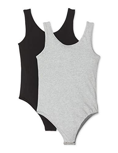 Amazon-Marke: Iris & Lilly Damen Body aus Baumwolle, 2er-Pack, Mehrfarbig (Black/Heather Grey), S, Label: S