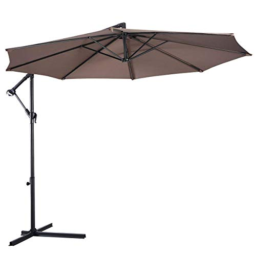 Tangkula Patio Umbrella 10ft Outdoor Sun Shade Umbrella Hanging Offset Crank W/Corss Base 8 Rips Steel Sturdy Frame Table Umbrella for Garden Pool Deck Market Umbrella (Tan)