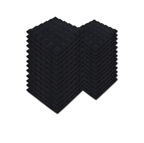 SK Studio 24 Stück Akustikschaumstoff Noppenschaumstoff Akustik Schaumstoff Schall Dämmung Dämmung für Tonstudio Schallabsorbierende Dämpfungswand Schaumpyramide 30x30x5cm, Schwarz