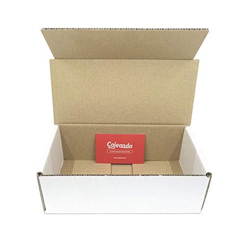 Cajeando | Pack de 50 Cajas de Cartón Automontables | Tamaño 21 x 10 x 7 cm | Canal Simple y Color Blanco | Para Mudanzas y Envíos | VARIOS PACKS | Fabricadas en España