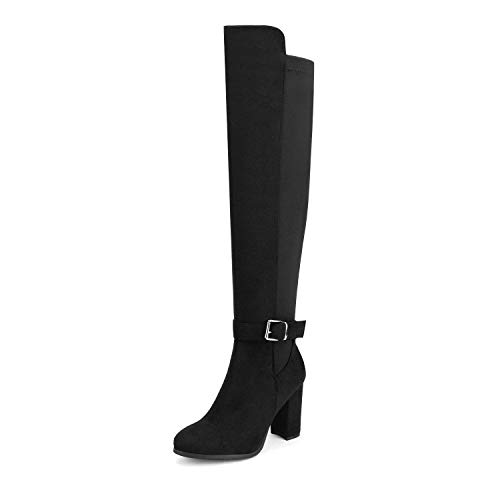 DREAM PAIRS Women's Black Chunky Block Heel Stretchy Over The Knee Boots Size 6.5 B(M) US Deeanne-1