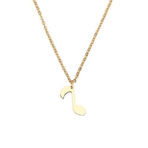 YQMR Colgante Collar para Mujer,Señoras Elegante Colgante Collar De Brillo Grabado Dorado Nota Musical Colgante Joyería De Moda Regalo para Cumpleaños Amistad Familia
