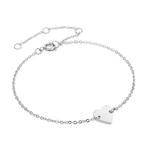 Damen Armband Minimalist Anhänger Silber/Gold/Roségold Armreif 14K vergoldet Mode Schmuck Geschenke für Frauen Women Bracelet