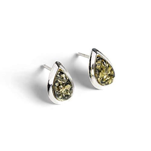 Sterling Silver Green Amber stud earrings, Natural amber studs women earrings, Green Earrings, Boho jewelry, Bohemian Earrings, Bridesmaid Jewelry Gift