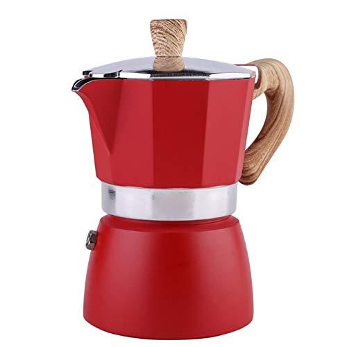 FDT112. Achteckige Kaffee Topf italienische Moka Topf Haushalt Espresso Kaffee Topf destillation extraktion Hand Kaffee Topf (Color : Red, Size : 3-Cup)