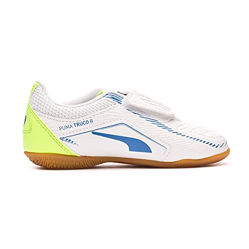 Puma Truco II V Jr, Zapatillas de fútbol Sala, White-Bluemazing, 31 EU