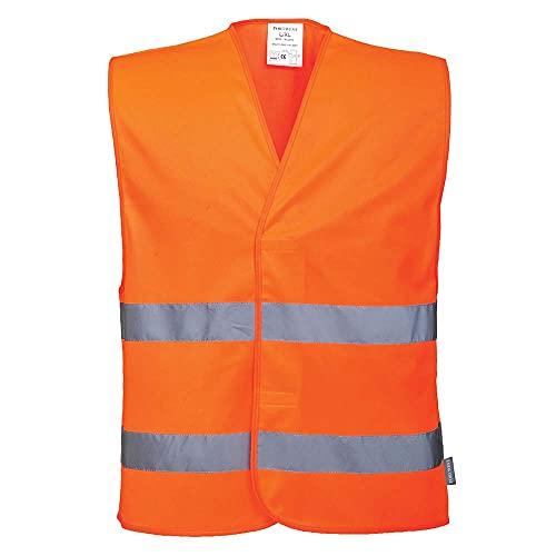 Portwest C474ORRL/XL Gilet ad Alta Visibilità con Due Bande, Arancione, LXL