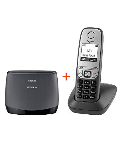 Gigaset Repeater HX + Comfort Schnurlos-Telefon - DECT-Repeater und schnurloses Telefon mit Freisprechfunktion - Set für erhöhte Reichweite, schwarz/anthrazit
