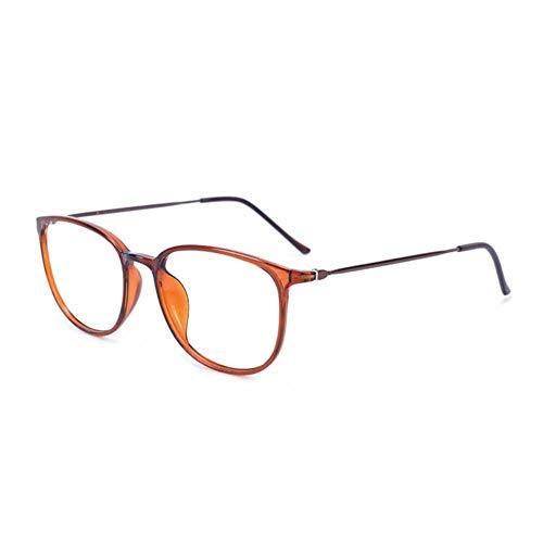 Ultra-Light Vintage leesbril, Tr-90 Frame Spring brillen Block Blue Light Reader,Brown,+1.5