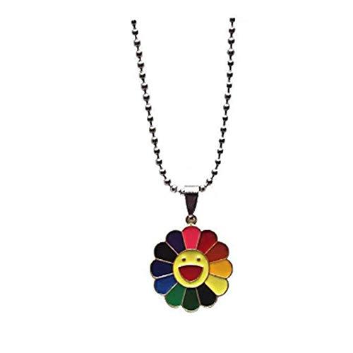 1 Unids Aleación de Moda Collar Colgante Clásico Murakami Sun Sunflower Petals Smiley Se Puede Girar