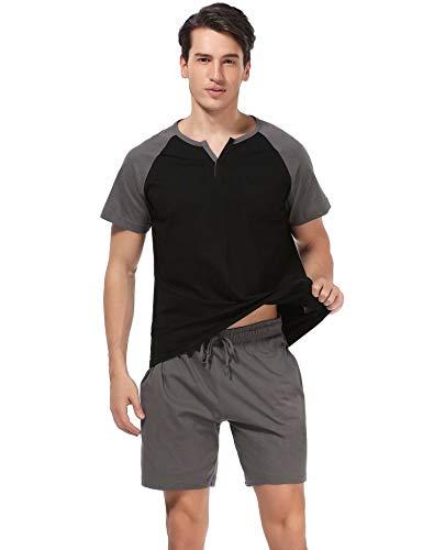 Aiboria Conjunto de Pijamas para Hombres Ropa de Dormir de Verano de algodón Tops y Pantalones Cortos de Manga Corta Ropa de salón