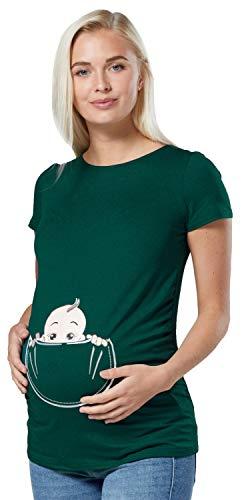 Happy Mama. para Mujer Camiseta premamá T-Shirt Estampado bebé en Bolsillo. 501p (Verde Oscuro, 40-42, L)
