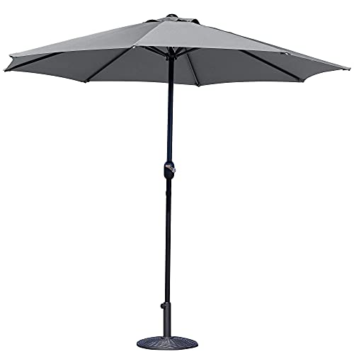 GlamHaus Parasol Garden Umbrella for Table - Crank Handle - UV40+ Protection - Additional Parasol Protection Cover - for Garden and Patios (Dark Grey)