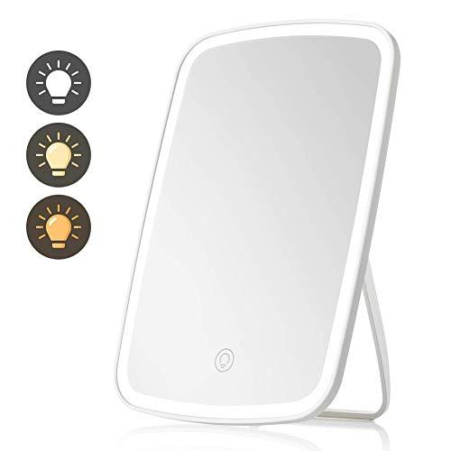 AIFUSI LED Kosmetikspiegel Schminkspiegel, Touchscreen dimmbar, 3 Beleuchtungsmodi, tragbar und wiederaufladbar, 100 Grad freie Drehung, Kosmetikspiegel auf der Arbeitsplatte