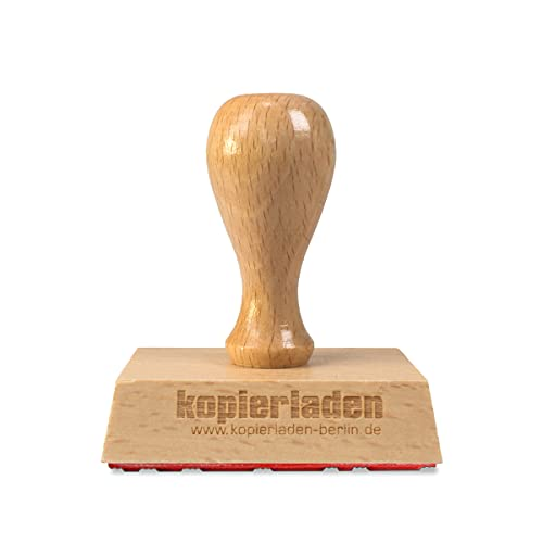 Holzstempel mit Wunschtext, 60 x 40 mm, für Adressen, Logos oder Motive – Bürostempel, Adressstempel, Firmenstempel - individualisierbar