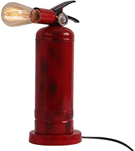 Waqihreu Lámpara de Mesa de Hierro Forjado Rojo y Negro con Interruptor de botón, extintor Creativo, lámpara de Pared de Hierro Forjado, Metal Industrial Retro, Cabezal de lámpara Giratorio