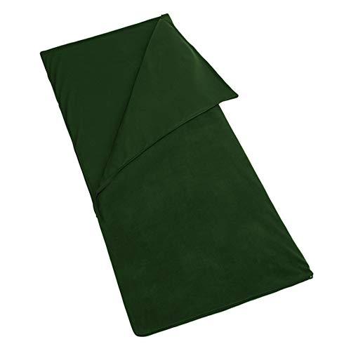 Saco de dormir de microfibra con cremallera, ligero, para viaje, con forro o manta con bolsa de almacenamiento para acampada al aire libre, clima frío, color army green, tamaño 71' x 59'