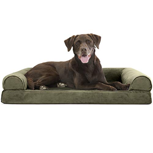 Furhaven Pet Dog Bed - Orthopedic Faux Fur and Velvet Traditional Sofa-Style Living Room Couch Pet Bed with Removable Cover for Dogs and Cats, Dark Sage, Large