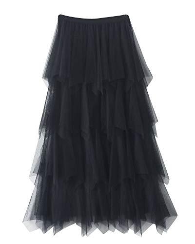 Mujer Falda Larga De Tul con Cintura Elástica Falda De Gasa Suave Falda De Tul Tutu Plisada Falda Negro