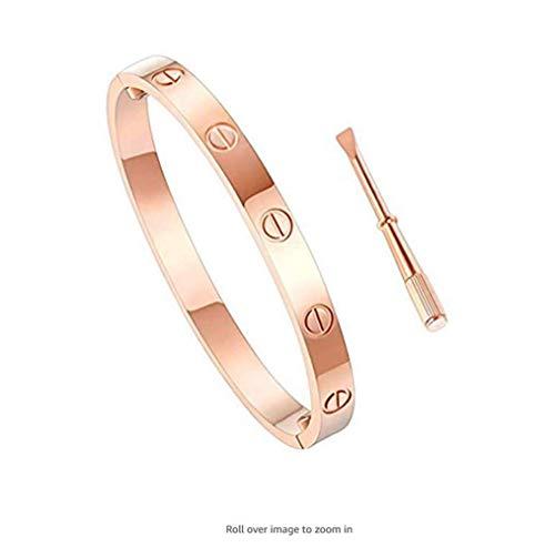 L&H Gold Bangle Screw Bracelets für Frauen Silber CouplesTitanium Steel Love Bracelet für Mädchen Jungen Valentines Wedding,Rosegold