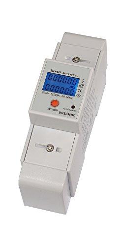 B+G E-Tech DRS255B - LCD digitaler Wechselstromzähler Stromzähler mit Tageszähler 5(50) A für Hutschiene mit S0 Schnittstelle 1000imp./kWh