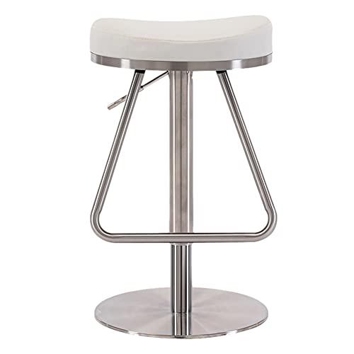Taburetes de bar giratorios de cuero, silla de comedor de sala de estar con ajuste de altura | Taburete de pestañas de redacción de spa para silla de banco de trabajo de tatuaje de tambor,Blanco