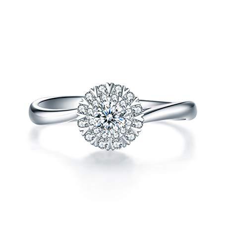KnSam 18K Oro Blanco Anillo, Anillos de Aplicación Redondo Copo de Nieve, Diamante F-G, Color Plata, Stile B 0.19ct Diamante - Talla 20
