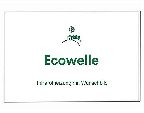 Ecowelle Eigenes Bild & Foto Infrarot Heizung mit Herstellergarantie - Made in Germany - Infrarotheizung mit Wünschbild (900 Watt, Weiße Alurahmen)