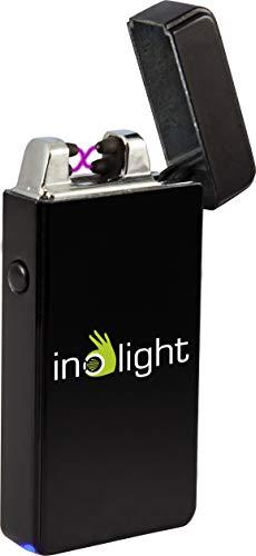 inolight CL 5 Sturmfestes USB Lichtbogen Feuerzeug in Vollmetallgehäuse (USB, Aufladbar, Akku , flammloses Feuerzeug) schwarz